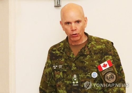 Lieut. Gen. Wayne D. Eyre, the deputy commander of the United Nations Command, speaks during a change-of-responsibility ceremony at Camp Humphreys, a sprawling U.S. military complex in Pyeongtaek, 70 kilometers south of Seoul, on July 30, 2018. (Yonhap)