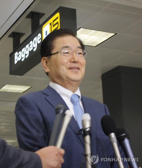 1일(미국 현지시간) 덜레스국제공항 도착한 정의용 국가안보실장