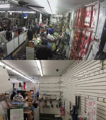 뷰티서플라이 점포 약탈 모습 (위)