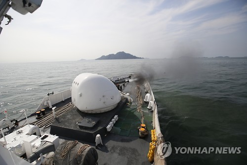 Firing drill against violent Chinese fishing boats