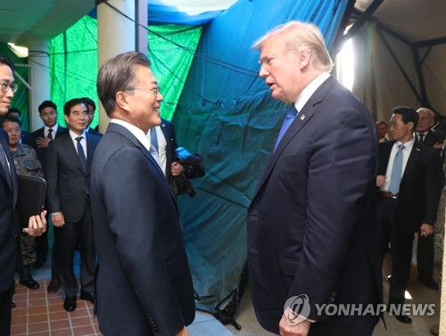 Moon with Trump at Camp Humphreys