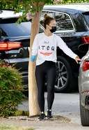 Olivia Wilde Spotted In Los Angeles Wearing White Top And Black Pants