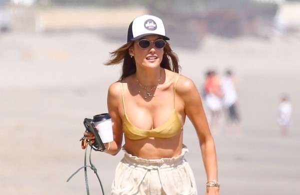 Alessandra Ambrosio Latest Pics in gold bikini while out soaking up the sun at the beach in Malibu