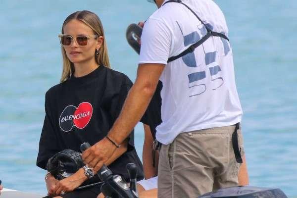 Natasha Poly seen at the Club 55 Beach in Saint Tropez