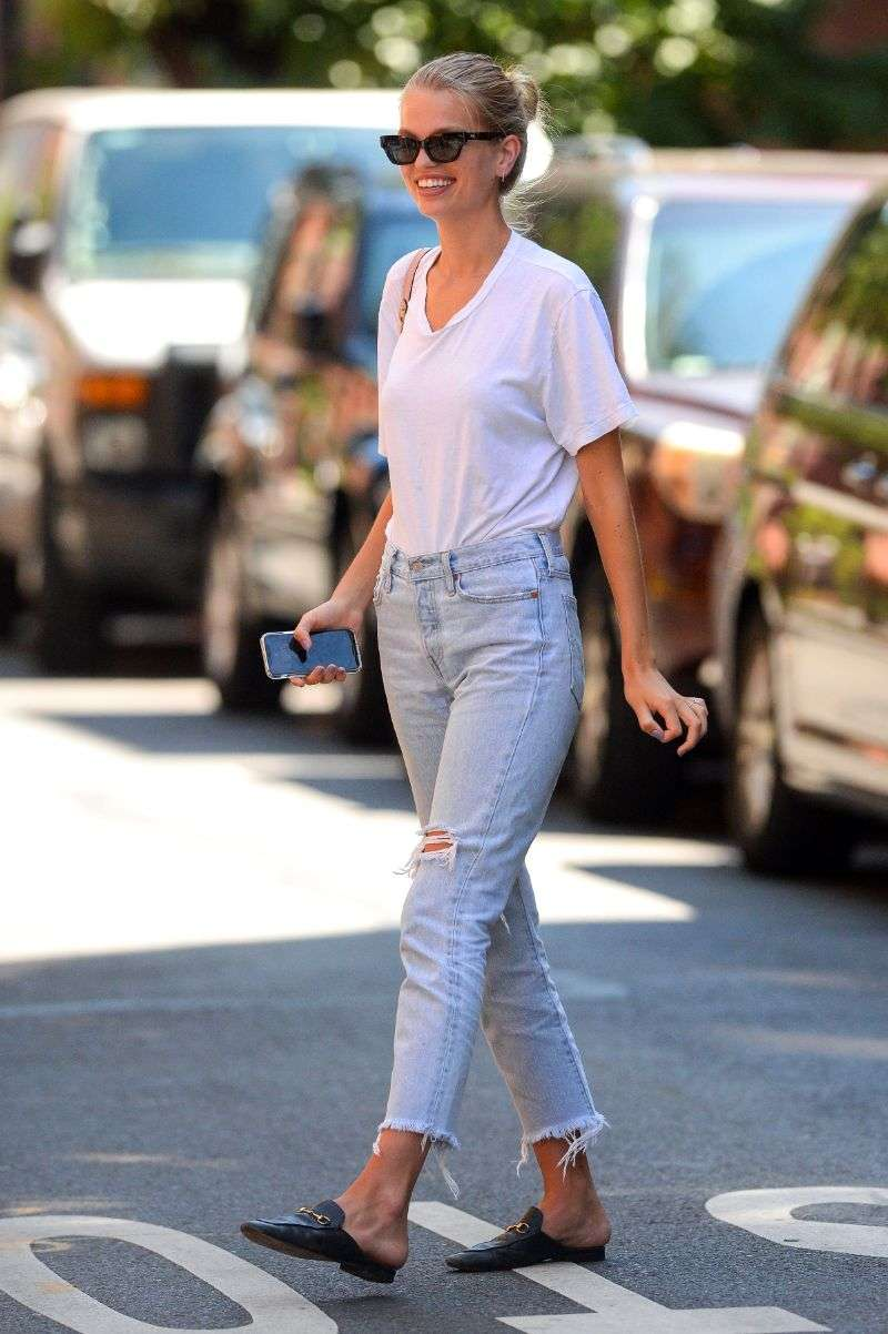 Daphne Groeneveld is seen wearing an engagement ring in the West Village of Manhattan