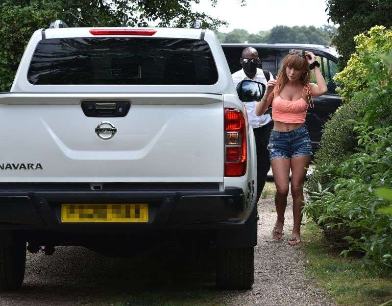 Summer Monteys Fullam takes delivery of her new 38K Nissan Navara special edition truck in London
