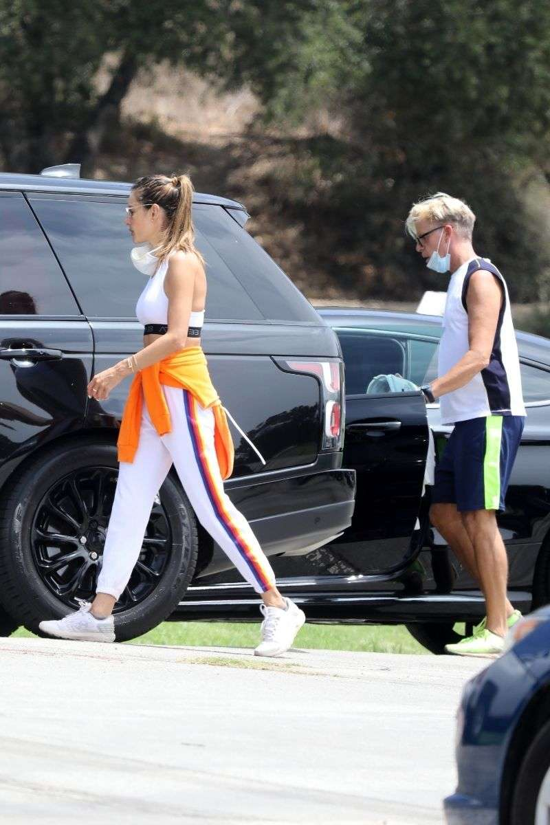 Alessandra Ambrosio takes a hike with a friend in the Pacific Palisades mountain trails