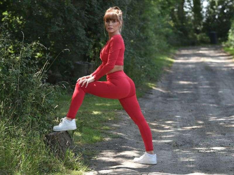 Summer Monteys Fullam Hot Photos In Red Dress Canterbury countryside