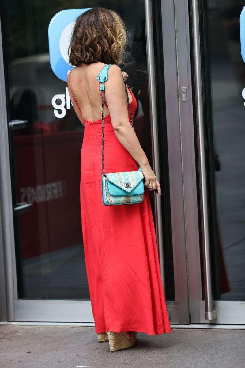 Myleene Klass Looks hot in red maxi dress at Heart radio show in London