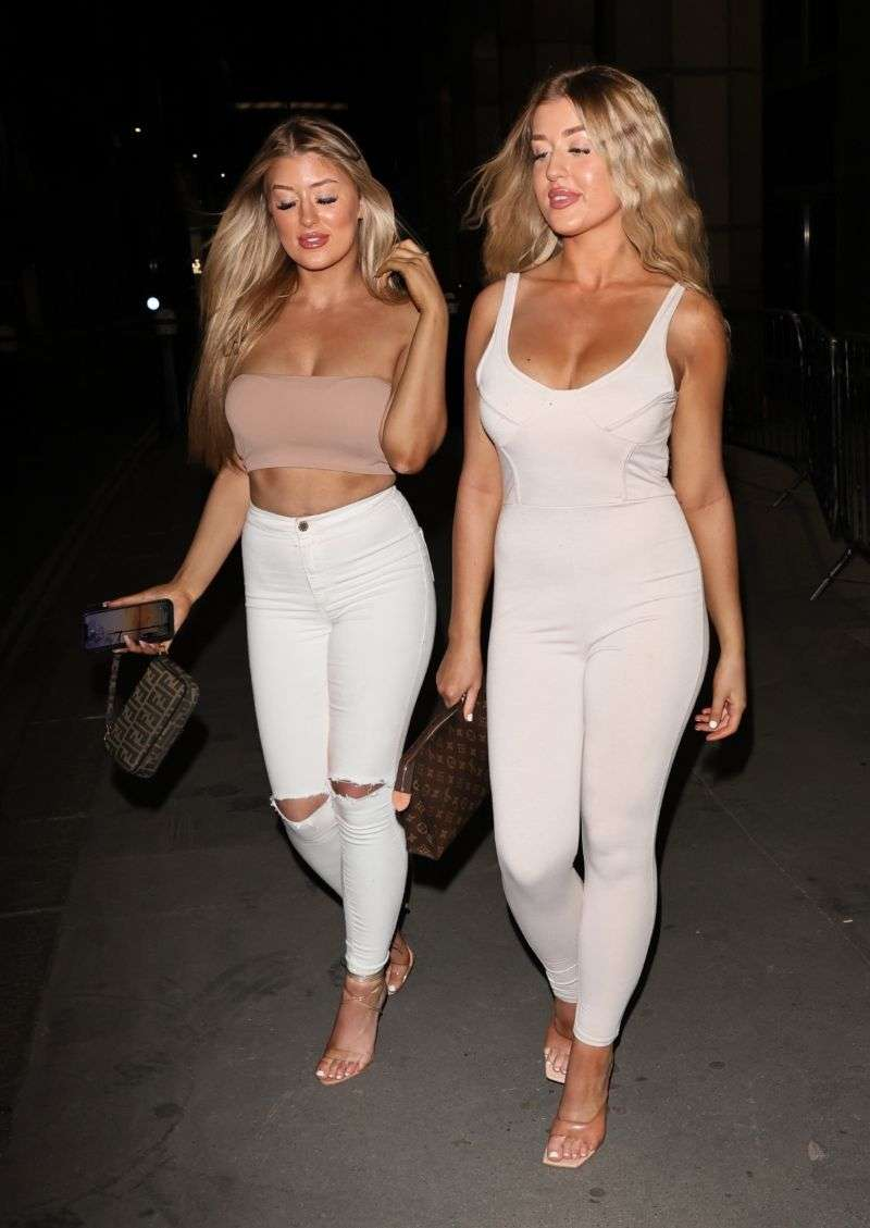 Jess and Eve Gale along with Demi Jones arriving at Mike Boateng's surprise birthday party in London