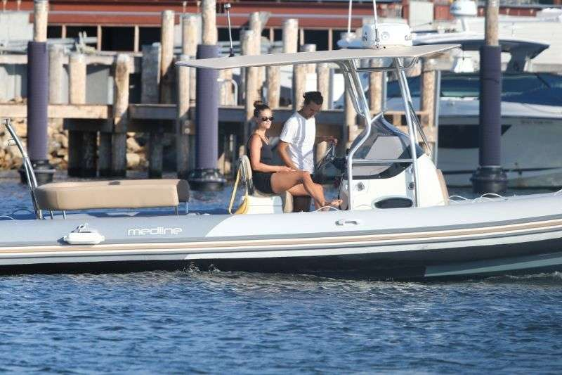 Nina Agdal Relaxing on a motor boat in The Hamptons New York
