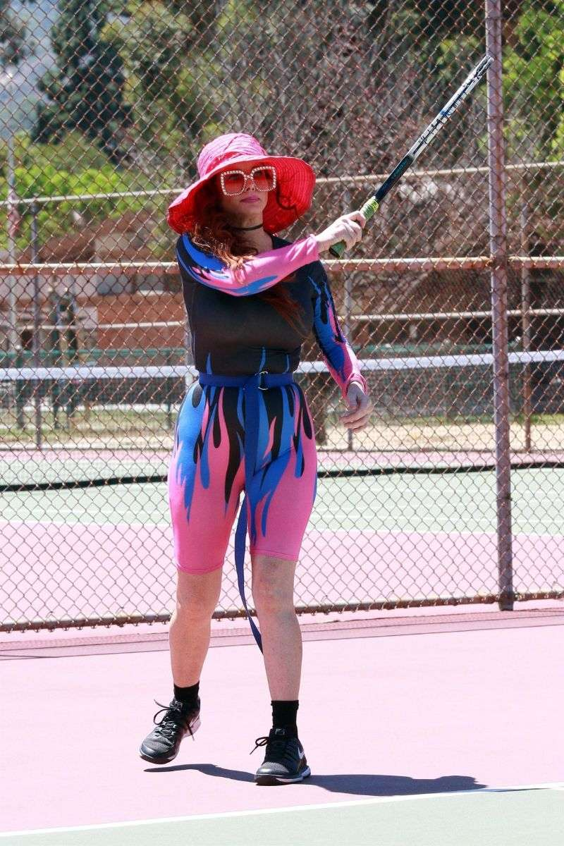 Phoebe Price Seen in a fire work out outfit on the tennis courts on Tuesday in Los Angeles