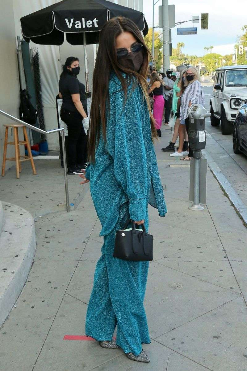Addison Rae Latest Hot Photos in fluorescent turquoise blue suit for dinner with family