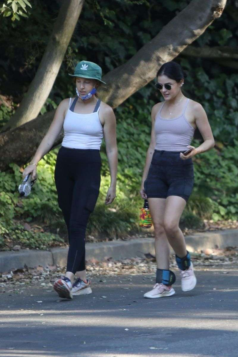 Lucy Hale Latest Hot Pics with a friend at Fryman Canyon in Los Angeles