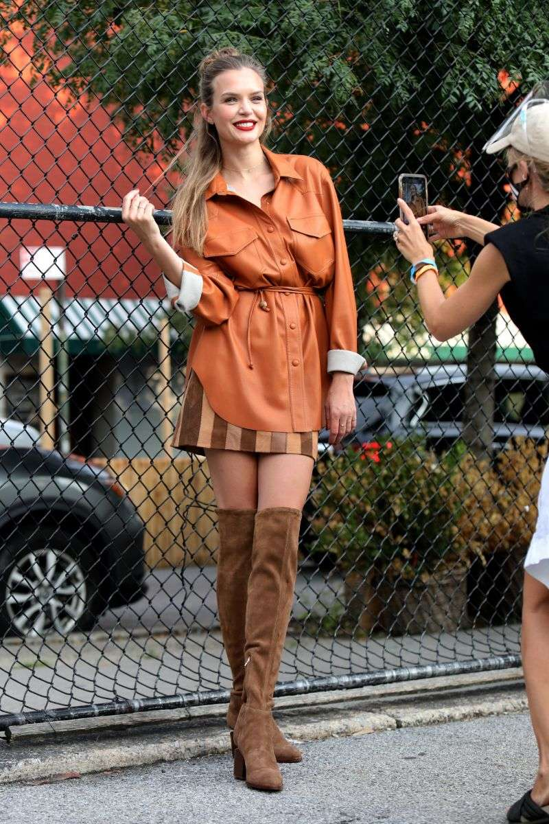 Josephine Skriver on location for a Maybelline commericial in Soho New York