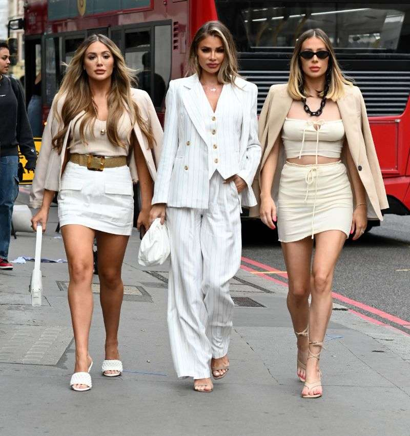 Frankie Sims, Chloe Sims and Demi Sims, Yazmin Oukhellou, Georgia Kousoulou 'The Only Way is Essex' TV show filming