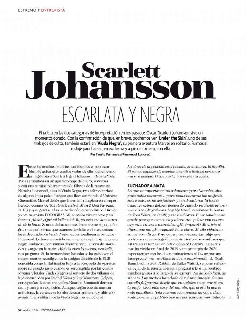 Scarlett Johansson PhtoShoot Pics For Fotogramas 2020 HD