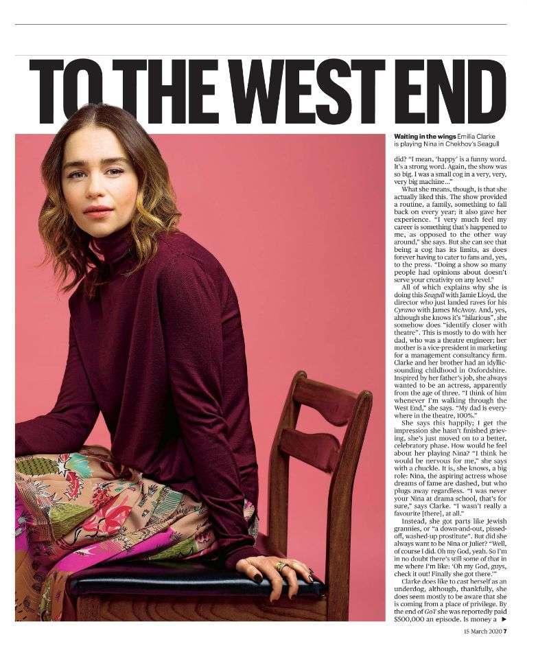 Emilia Clarke Photo SHoot Pics For The Sunday Times Culture Magazine 2020 HD