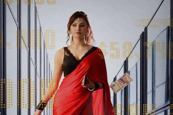 Urvashi Rautela Hot In Red Saree For Black Rose Frist Look