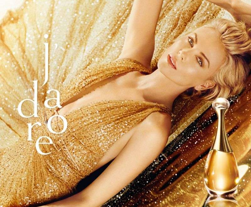 Charlize Theron is seen in gold for Dior J'adore Holiday 2019 HD Photos