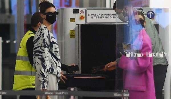 Hailey Bieber & Kendall Jenner seen leaving Milan after visiting for Milan Fashions Week Milan HD Photos