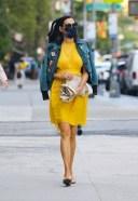 Famke Janssen Hot Pics in bright yellow dress and denim jacket New York 23