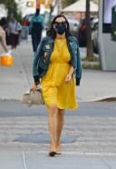 Famke Janssen Hot Pics in bright yellow dress and denim jacket New York