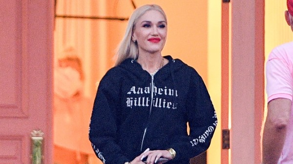 Gwen Stefani Hot Photos At studio in Woodland Hills wearing an Anaheim Hilbilies hoodie