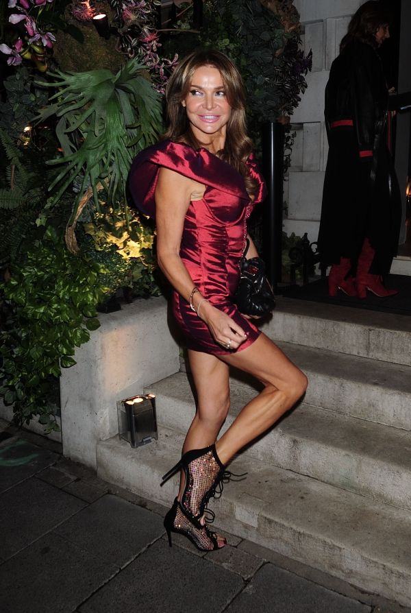 Lizzie Cundy Hot In Red Dress at Annabel's in Mayfair HD