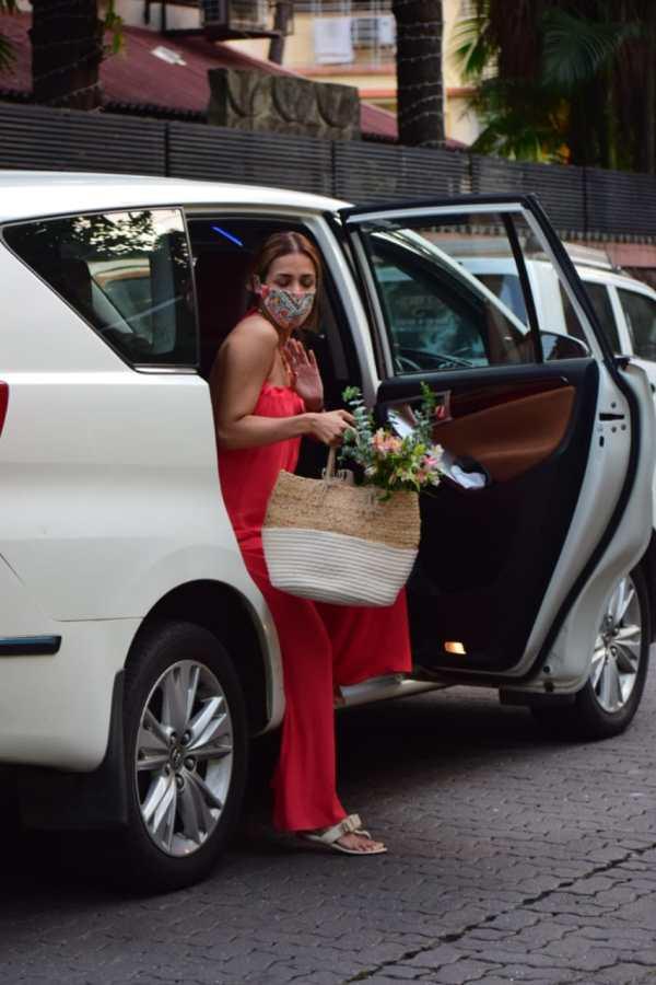 Malaika Arora Hot In Red Dress at bandra HD