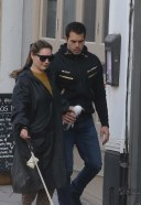 Pretty Kelly Brook And her long time partner Jeremy Parisi take their 5 month old puppy to Dog Cafe in Hampstead