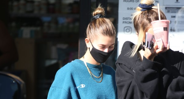 Hailey Bieber and Justin Skye make a stop at Earth Bar after hitting the gym in West Hollywood California