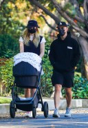 Joe Jonas and Sophie Turner take a walk with their new baby Willa in Los Angeles california