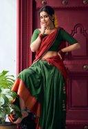Raashi Khanna Hot Pics In Red and Green Saree HD 3