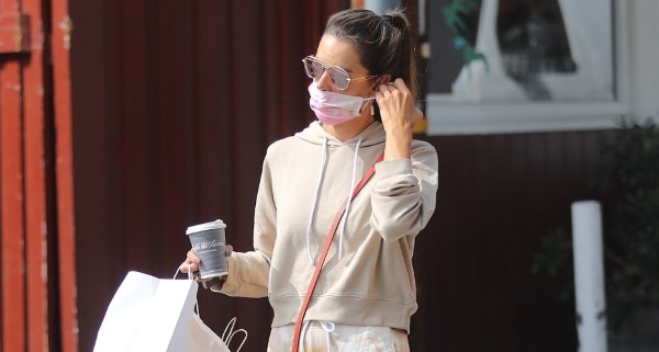 Alessandra Ambrosio seen out for coffee with friends at the Brentwood Country Mart in Brentwood