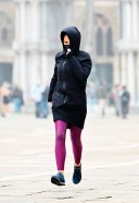 Hayley Atwell Takes a break from filming 'Mission Impossible' as she went out for a run in Venice