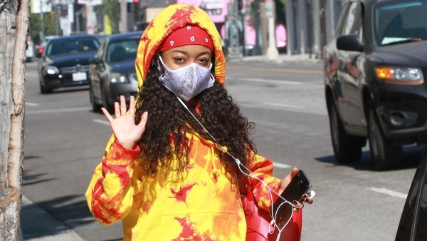 Skai Jackson Arriving for dance practice in a red and yellow hoodie with sweat pants at the DWTS studio in Los Angeles