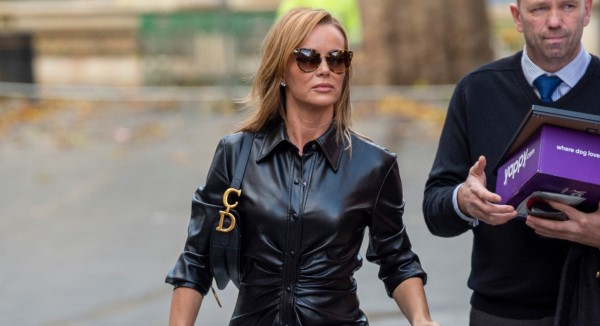 Amanda Holden Wears leather dress for Heart radio show in London