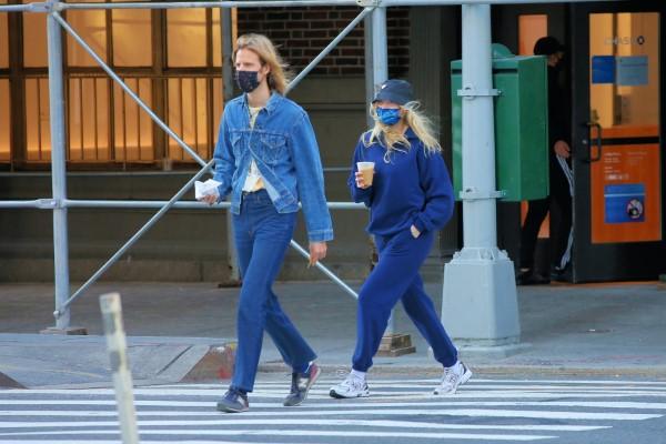 Elsa Hosk Grabs morning coffee in Soho New York