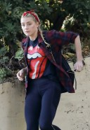 Amber Heard reps The Rolling Stones for a hike with a friend in LA