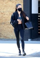 Sara Sampaio arrives for a morning workout at the DogPound