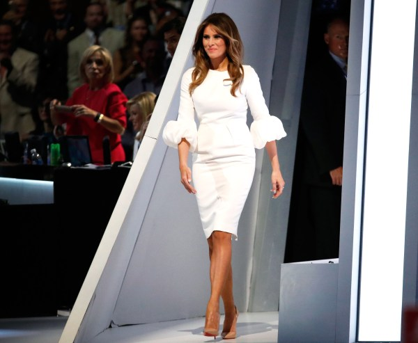 Melania Trump on stage on the final day of the Republican National Convention