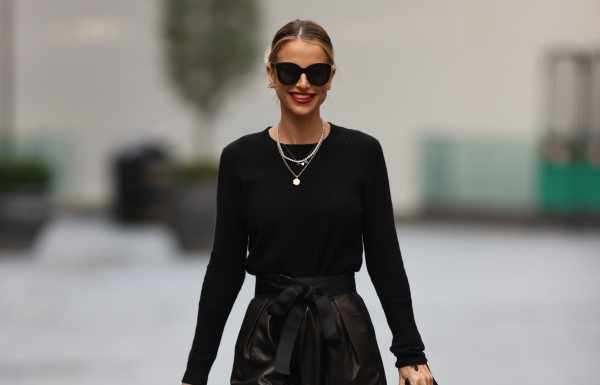 Vogue Williams Looks chic wearing black top at Heart radio