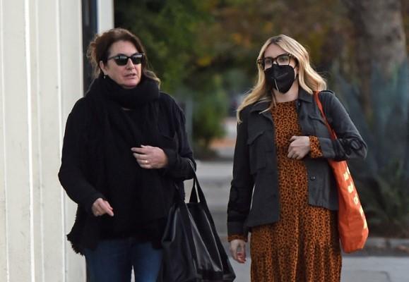 Emma Roberts Rocks a leopard print dress as she goes furniture shopping