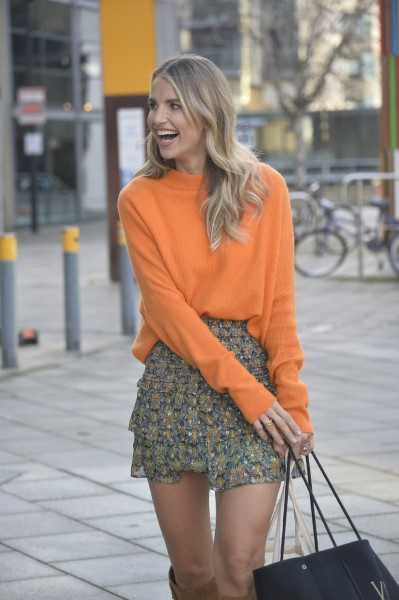 Vogue Williams Laughs as she leaves filming of Steph's