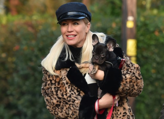 Denise Van Outen Takes her dogs Tilly and Remy for a walk