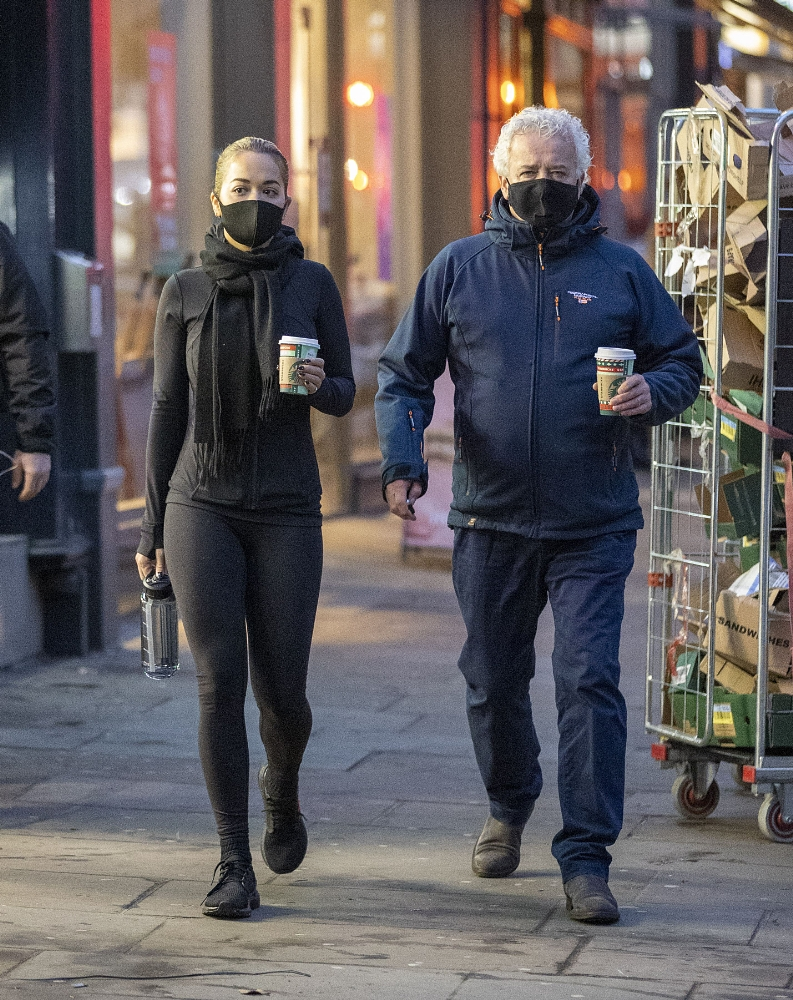 Rita Ora seen leaving a coffee shop with her father in Kensington London