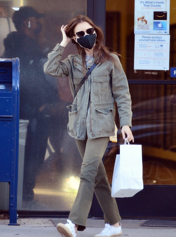 Lily Collins Visits the post office