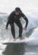 Leighton Meester spotted on a solo surf session in Malibu California