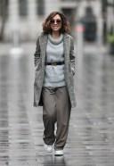 Myleene Klass Looks chic in wool jumper and smart blazer at Smooth radio in London